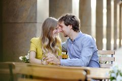 Young couple in the cafe Stock Photos
