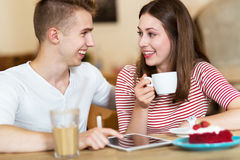 Young couple at cafe Stock Images