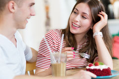 Young couple at cafe Royalty Free Stock Image
