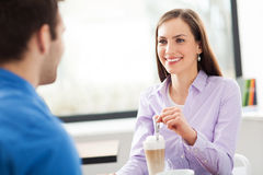 Young couple at cafe Stock Photography