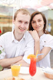 Young couple in cafe Royalty Free Stock Photography