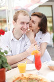 Young couple in cafe Stock Photography