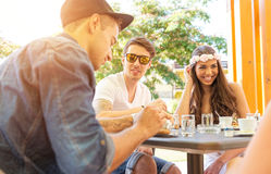 Young couple in the cafe terrace Stock Photography