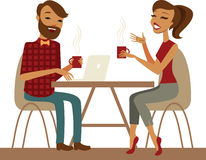 Young couple in a cafe Royalty Free Stock Photo