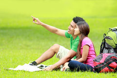 Young couple camping in the park Stock Photo