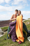 Young Couple On Camping Trip In Countryside Stock Photography