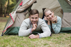 Young couple camping in the wilderness Royalty Free Stock Photo