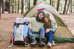 Young couple camping in the wilderness Royalty Free Stock Images