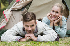 Young couple camping in the wilderness Stock Photos