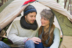 Young couple camping in the wilderness Stock Photography