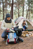 Young couple camping in the wilderness Stock Photo