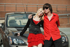 Young couple with a car Stock Photo