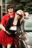 Young couple at the car Stock Photos