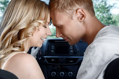 Young couple in the car Stock Photos