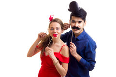 Young couple with cardboard sticks Royalty Free Stock Photography