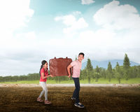 Young couple carry big baggage Stock Image