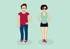Young couple cartoon Stock Image