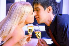Young couple celebrating royalty free stock image