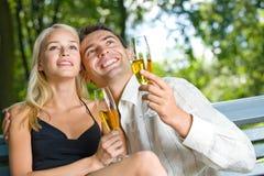 Young couple celebrating stock photo