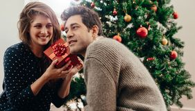 Young couple celebrating Christmas at home. Stock Photo