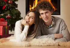 Young couple celebrating Christmas together Royalty Free Stock Image