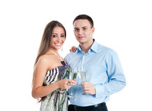 Young couple celebrating some occasion. And having fun Royalty Free Stock Photography