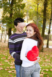 Young couple celebrating Valentine Day Stock Photos