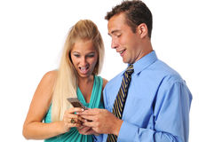 Young couple with cell phone Stock Photo