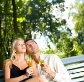 Young couple with champagne Stock Image