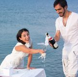 Young couple with champagne by the sea Stock Images