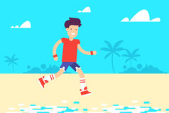 The young couple characters running across the ocean beach,. The young man character running across the ocean beach, through the palms. Pretty boy and girl with Royalty Free Stock Images