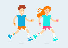 The young couple characters running. Their workout. Pretty boy and girl in a flat simple cool style. Vector flat illustration. Very easy to edit Stock Photography
