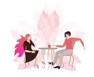 Young couple chatting in a cafe. Romantic card. Light pink flower and hearts Stock Photography