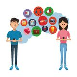 Couple with smartphones. Young couple chatting on smartphones and social netowrk symbols vector illustration graphic design vector illustration
