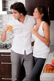 Young couple chatting while thier drink Royalty Free Stock Photography