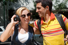 Young couple cheerfully spending time Stock Photography