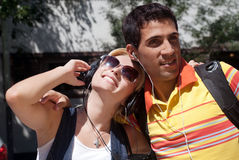 Young couple cheerfully spending time in the stree Royalty Free Stock Photo