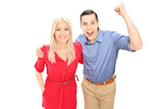 Young couple, cheering Royalty Free Stock Image