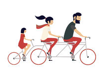 Young couple with child riding bicycle. Hipster style Stock Image
