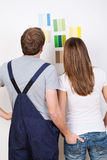Young couple choosing a new colour for their house Royalty Free Stock Photo