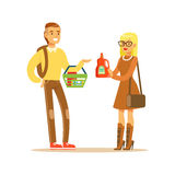 Young Couple Choosing Product Shopping In Department Store ,Cartoon Character Buying Things In The Shop Royalty Free Stock Photo