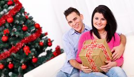 Young couple at Christmas Royalty Free Stock Image