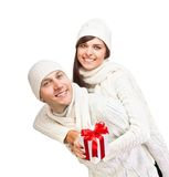 Young couple with Christmas gift Royalty Free Stock Photos