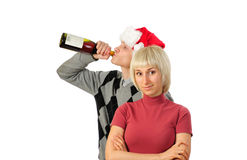 Young couple after Christmas night Royalty Free Stock Photos
