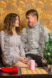 Young couple in Christmas party. Two young sweethearts cute spend time Stock Photo