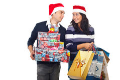 Young couple with Christmas shoppings stock image