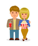 Young couple in cinema. Isolated characters, male and female with popcorn and a drink Stock Images