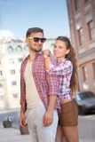 Young couple in city Royalty Free Stock Image