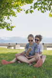 Young couple in a city park Royalty Free Stock Photo