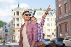 Young couple in city Stock Photo